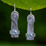 Silver with aqua stone earrings by Passiko Jewelry