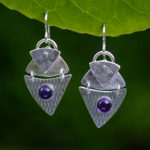 Silver with violet stone earrings by Passiko Jewelry